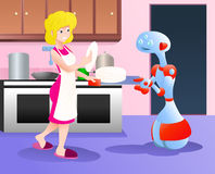 Robot helping mom picking plates Royalty Free Stock Images