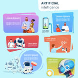 Robot Helping People Set Assistance Applications Artificial Intelligence Concept Collection Stock Photos