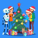 Robot Helps To Decorate Christmas Tree For Happy Family Vector. Isolated Illustration. Robot Helps To Decorate Christmas Tree For Happy Family Vector stock illustration