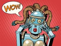 Robot hermoso de la mujer del wow Fotos de archivo libres de regalías