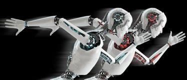 Robot het androïde lopen Royalty-vrije Stock Fotografie
