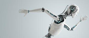 Robot het androïde mensen lopen Stock Afbeeldingen