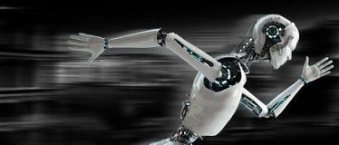 Robot het androïde lopen Stock Afbeelding
