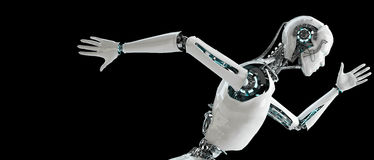 Robot het androïde mensen lopen Stock Foto