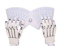 Robot het typen op conceptueel zelf-verlicht toetsenbord Stock Afbeelding