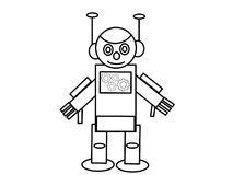 Robot high quality kids coloring pages Stock Photos
