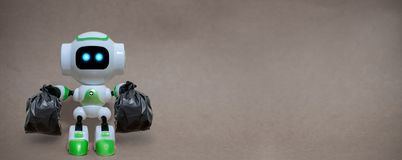 Robot hold garbage bags technology recycle environment stock image