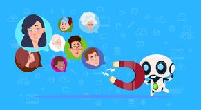 Robot hold magnet mix race chat bubbles,artificial intelligence support virtual assistance of website or mobile. Applications, pulling concept flat Vector vector illustration