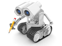 Robot hold  pencil  hand. 3d person.  isolated Stock Photo