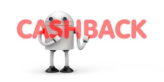 Robot hold red word - Cashback Stock Photo