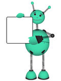 Robot holdblank ad sign vector illustration Royalty Free Stock Photography