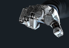 Robot holding bitcoin with fingers in mechanical arm Stock Photos