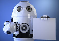 Robot holding a blank board for text or advertising. . C Stock Photography