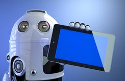 Robot holding blank digital tablet computer Stock Photography