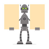 Robot holding blank posters Royalty Free Stock Photography