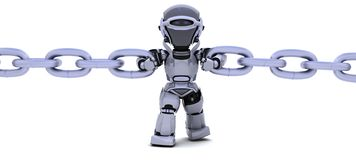 Robot holding a chain Royalty Free Stock Image