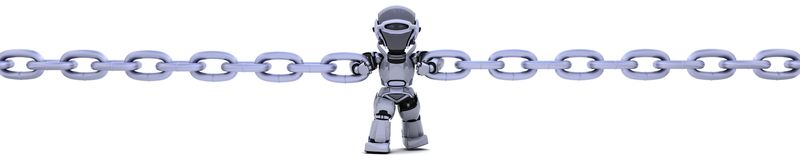 Robot holding a chain Royalty Free Stock Photography