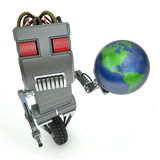 Robot Holding the earth Stock Photo