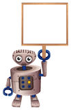 A robot holding an empty board Royalty Free Stock Photos