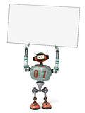 A robot holding an empty poster above its head Royalty Free Stock Photos