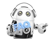 Robot holding FAQs sign. Isolated. Contains clipping path Stock Image