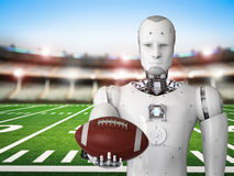 Robot holding football ball Royalty Free Stock Photo