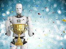 Robot holding golden trophy Stock Photography