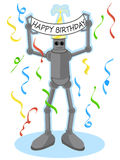 Robot holding Happy Birthday sign. Robot displays Happy Birthday sign directly above his head surrounded by falling party streamers Stock Photos