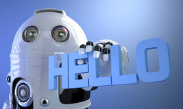 Robot holding HELLO sign. Technology concept. Royalty Free Stock Photo