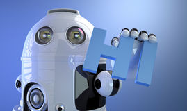 Robot holding HI sign. Technology concept. Royalty Free Stock Photos
