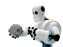 Robot holding human scull Royalty Free Stock Images