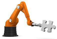 Robot holding jigsaw puzzle piece Stock Photography