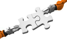 Robot holding jigsaw puzzle piece Royalty Free Stock Photo
