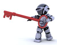 Robot holding a key. 3D render of a robot holding a key Royalty Free Stock Photo