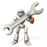 Robot holding a large wrench Stock Photo