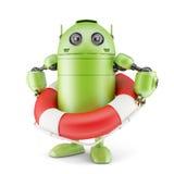 Robot holding life buoy. Isolated on white Royalty Free Stock Image