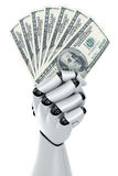 Robot holding money. 3d rendering of a robot hand holding 100 dollar notes Royalty Free Stock Photos