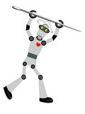 Robot holding oversized needle vector illustration Royalty Free Stock Photos