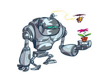 Robot holding potted plant Royalty Free Stock Image