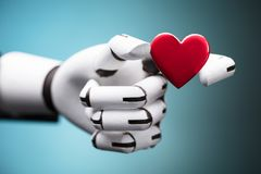 Robot Holding Red Heart royalty free stock image