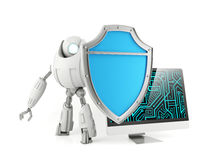 Robot holding shield protecting computer. Computer security system concept Royalty Free Stock Images