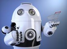 Robot holding shopping cart. Technology concept. Contains clipping path. Robot holding shopping cart. Contains clipping path Royalty Free Stock Image
