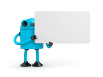 A robot holding a sign. 3D Robot holding a empty sign Royalty Free Stock Photography
