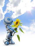 Robot holding sunflower Stock Photo