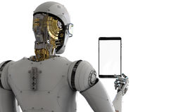Robot holding tablet. 3d rendering rear view of robot holding tablet Royalty Free Stock Image