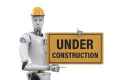 Robot holding under construction sign. 3d rendering robot holding under construction sign Stock Images