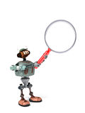 Robot Holding Up a Magnifying Glass Royalty Free Stock Image