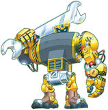 Robot Holding Wrench Vector Cartoon. A vector cartoon of a giant tough-looking robot holding a wrench on its shoulder. Great for construction or repair themes vector illustration
