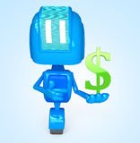 Robot holds dollar Royalty Free Stock Images