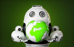 Robot holds earth globe. Stock Photos